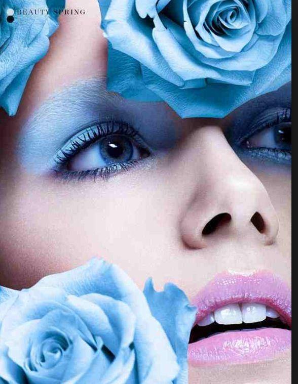 Blue roses makeup