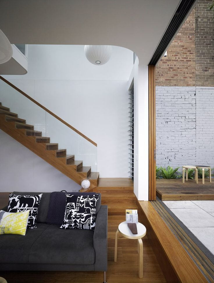 gorgeous stairs and seamless in and out Elliott Ripper House by Christopher Polly Architect