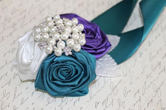 Teal and Purple Corsage by Hey Bouquet ~   teal ribbon corsage, purple ribbon corsage, teal corsages, purple corsages, plum corsages, wedding corsages, purple wedding, plum wedding, teal wedding