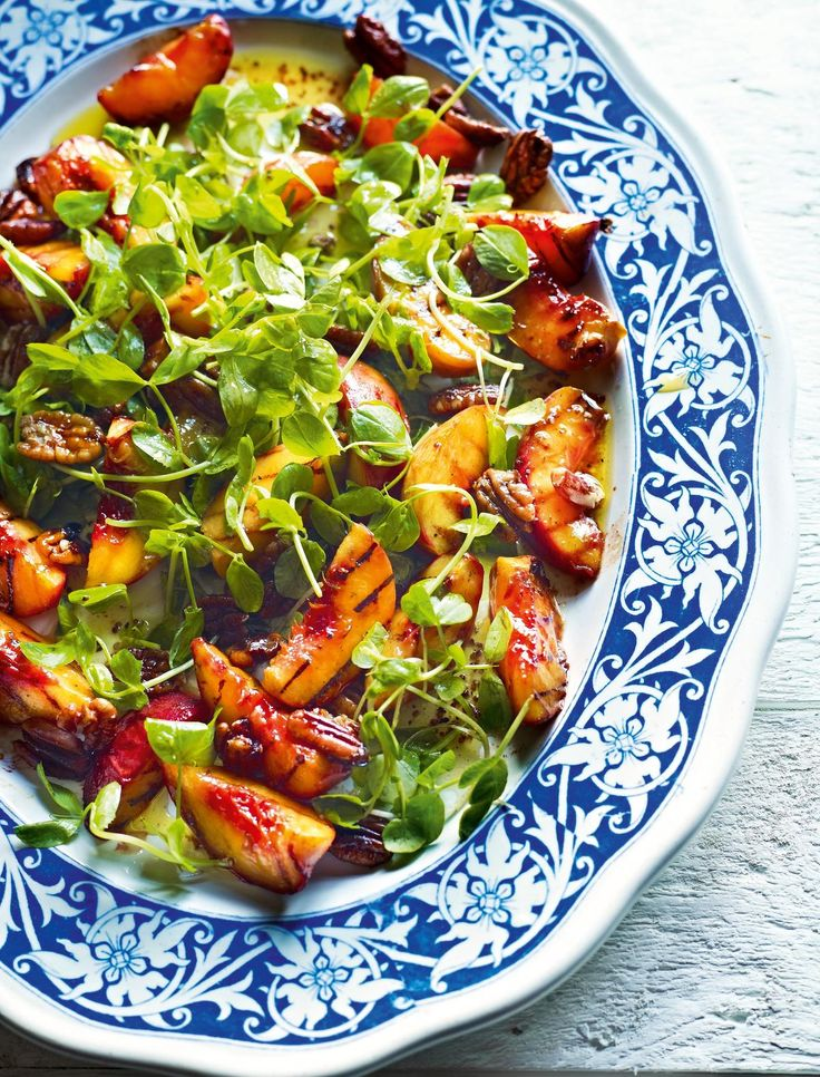 Salad of Chilli and Honey Peaches, Leaves and Pecans - The Happy Foodie