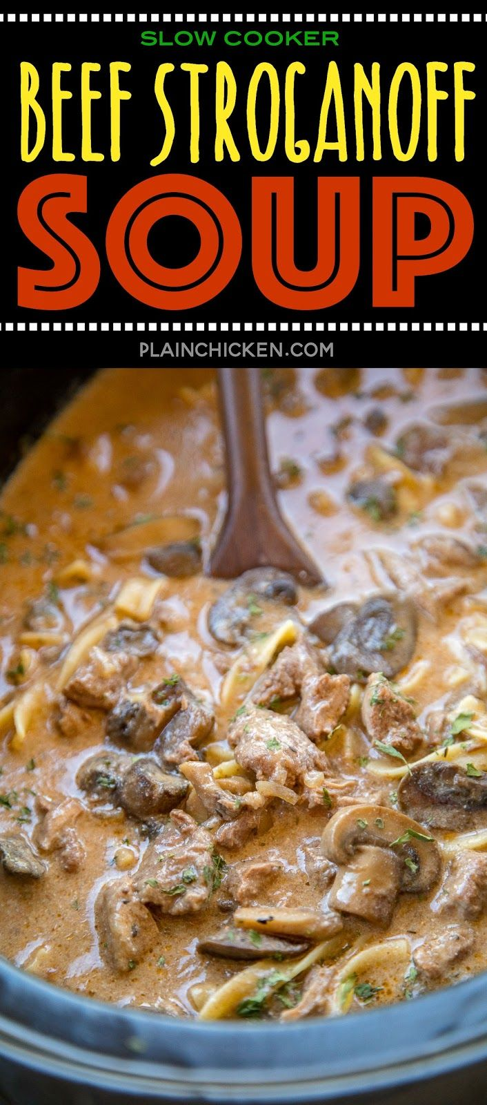 Slow Cooker Beef Stroganoff Soup – sirloin roast, beef broth, onion soup mix, to…   – Easy soups
