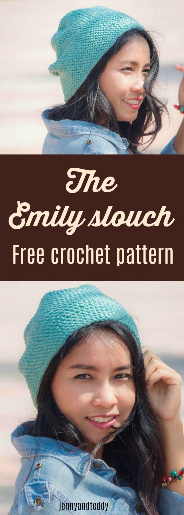 Free crochet pattern the Emily slouch beanie hat beginner friendly by jennyandteddy