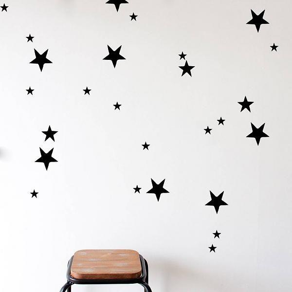 47 muurstickers sterren zwart