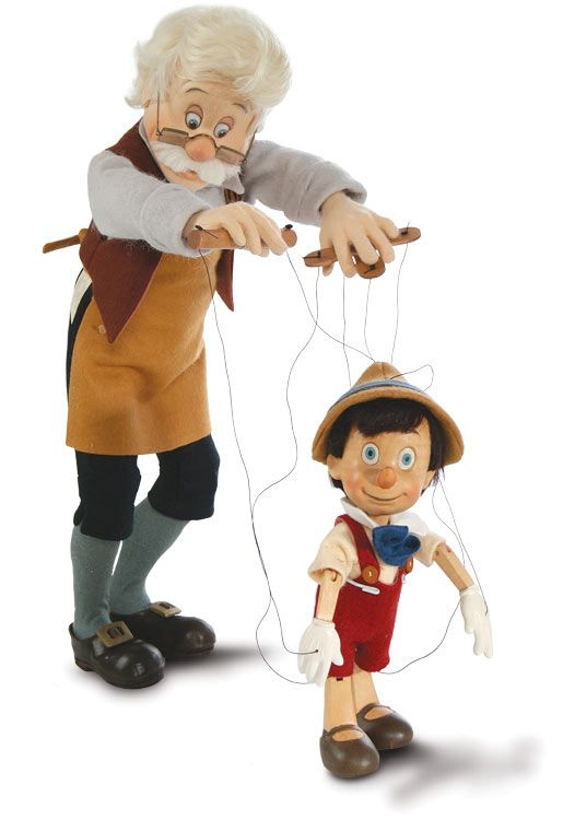 Geppetto And Pinocchio Series I Marionette by R. John Wright at The Toy Shoppe