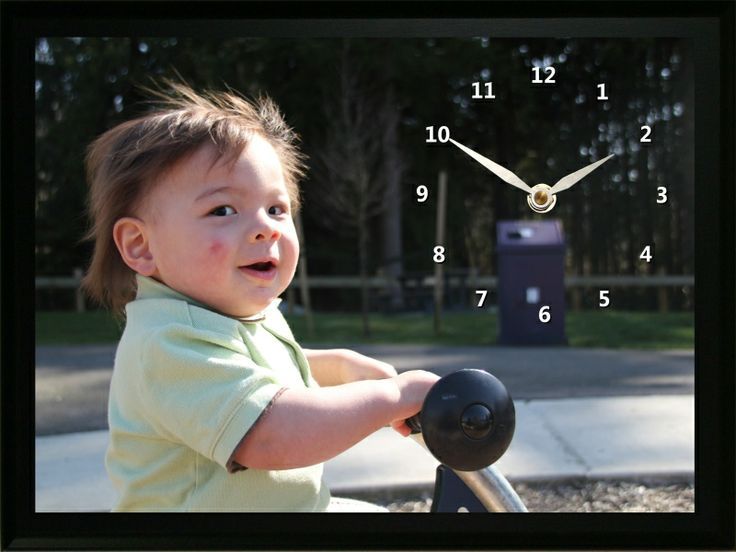 This Child in Playground Clock is a great way for his grandparents to remember when this little guy was a baby.