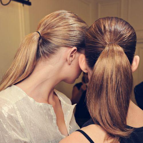 slicked back ponytails