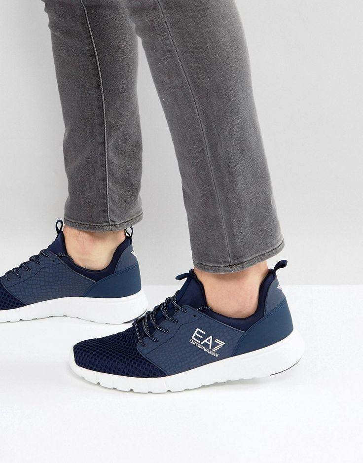 Get this EA7's sneakers now! Click for more details. Worldwide shipping. EA7 Racer Python Print Trainers in Navy - Navy: Trainers by EA7, Textile upper, Lace-up fastening, Branded cuff, Padded for comfort, Chunky sole, Moulded tread, Wipe clean, 33% Real Leather, 33% Other Materials, 34% Textile. Launched in 2004 as an offshoot of Emporio Armani, EA7 takes the best from functional clothing and combines it with street style in its relaxed staples. Prioritising natural fibres, lightweight…