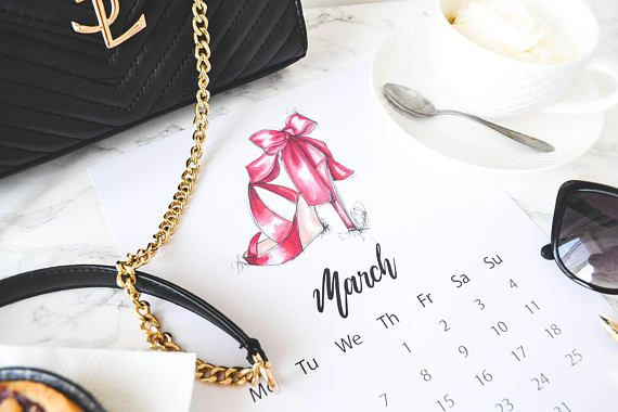 Downloadable Fashion Calendar, Digital Fashion Calendar,2018 Desk Calendar, Heels Calendar, Fashion illustration,2018 calendar  Hello March! This is a downloadable desk calendar page for fashionista ladies. This item is for 2018 March only!  About the file:  Digital image -It is