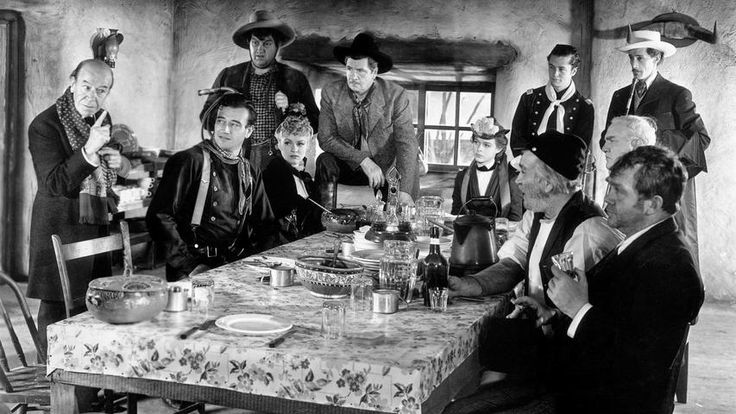 Stagecoach (1939) - A simple stagecoach trip is complicated by the fact that Geronimo is on the warpath in the area. The passengers on the coach include a drunken doctor two women a bank manager who has taken off with his client's money and the famous Ringo Kid among others.