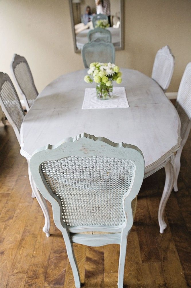 antique dining table Annie Sloan Paris Grey and Duck Egg