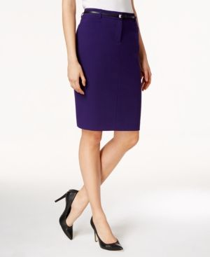 Calvin Klein Petite Belted Pencil Skirt - Purple 12P