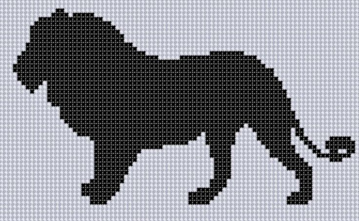 Mother Bee Designs: Lion Silhouette Cross Stitch Pattern