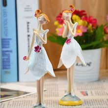 Europe Style Resin Doll Fairy Figurines 2PCS/SET Handmade Beautiful Angel Wedding Home Decoration Gifts Free Shipping(China (Mainland))
