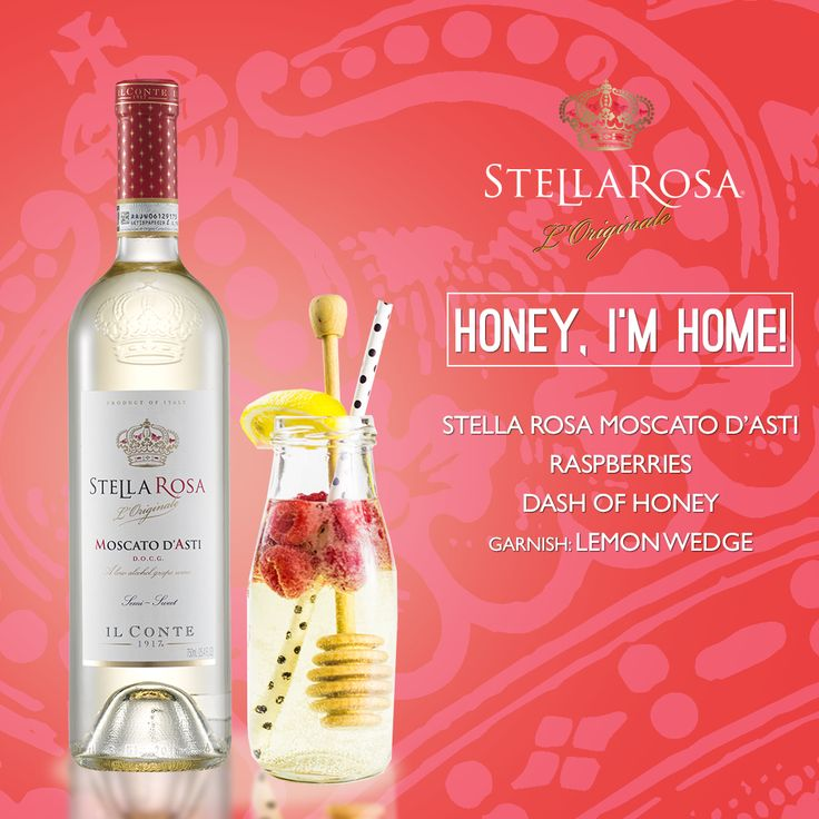 Stella Rosa Wines original cocktail recipe: Honey, I'm Home! -- Combine raspberries, Stella Rosa Moscato d'Asti and dash of honey. Garnish with a lemon wedge.