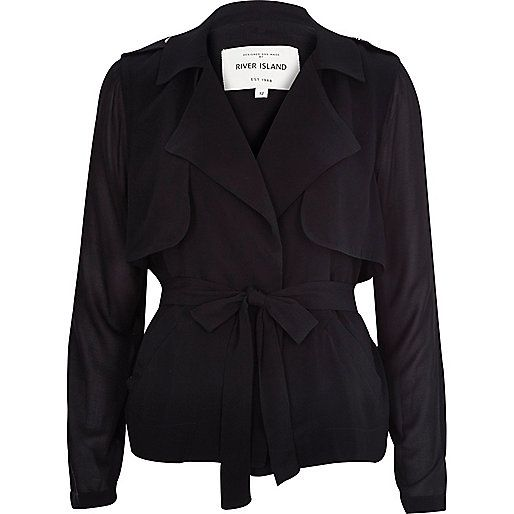 Black sheer sleeve cropped trench coat