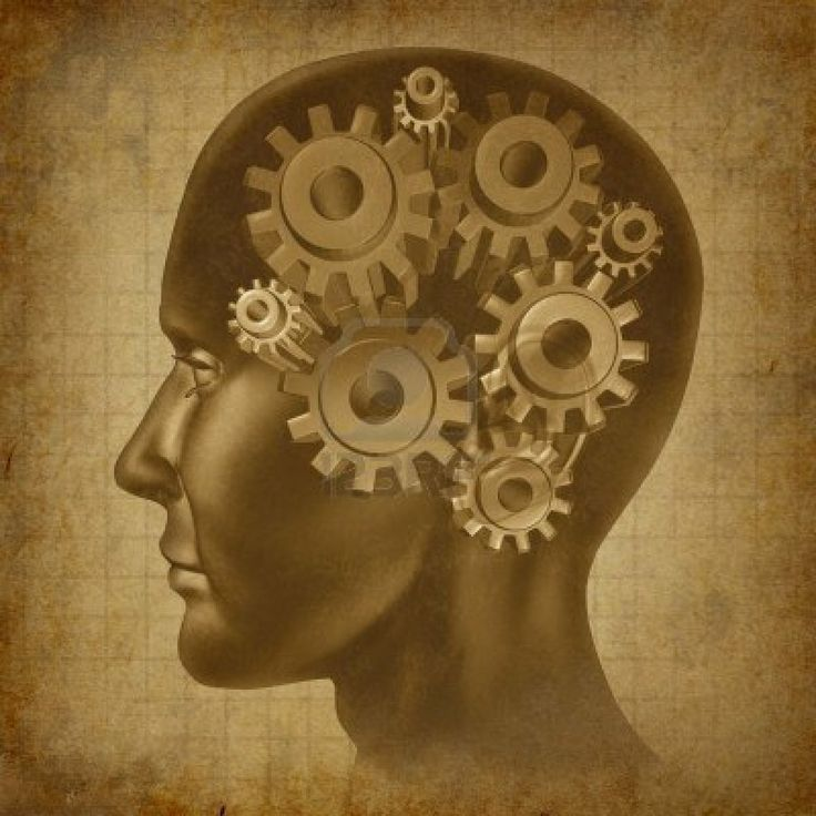 Le fonctionnement du cerveau Intelligence avec des engrenages et rouages ??dans lesprit comme un grunge vieux parchemin ancien médicale Banque dimages