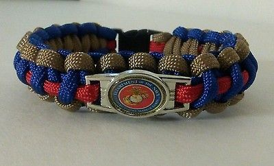 "USMC DRESS BLUES PARACORD BRACELET 550 CORD BLOOD STRIPE 8.5"" US MARINE CORP EGA"