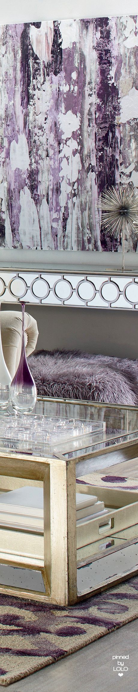 luxury modern furniture, silver, purple. home accents DesignNashville.com
