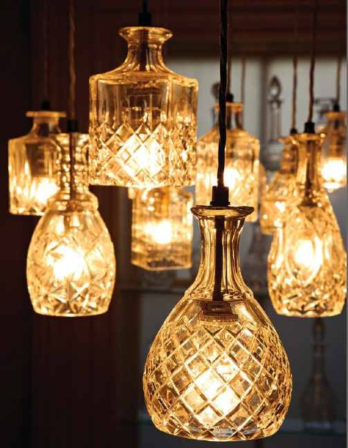 Vintage Decanter Lights...would make beautiful pendants over a bar or in a kitchen