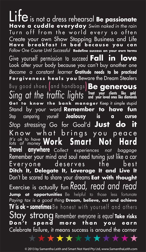 Manifesto - Samantha Leith   #SmartStrategy #SmartSession #VersionOfSuccess #Success @Samantha Leith