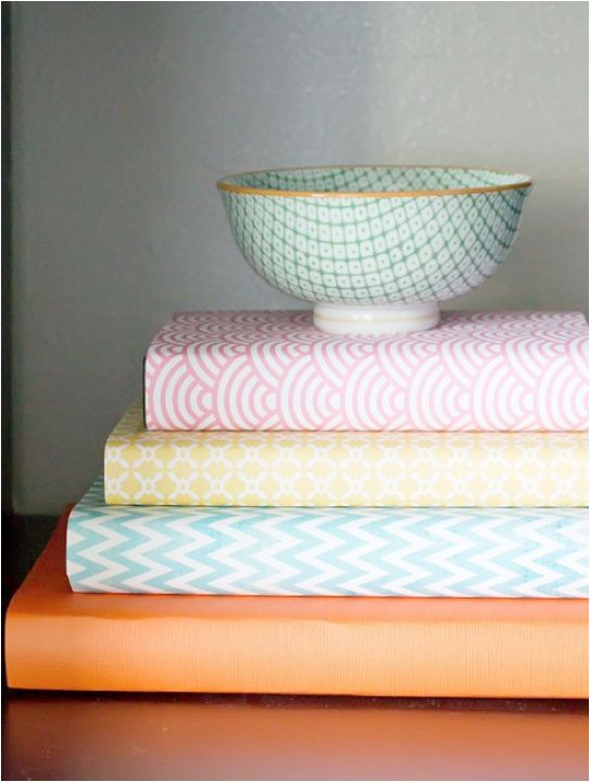 Book Inside Cover Patterned Paper : Use pretty paper to cover your books the everygirl diys