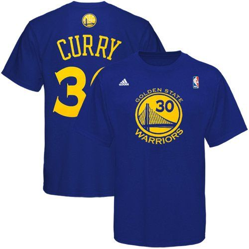 adidas Golden State Warriors #30 Stephen Curry Royal Blue Net Number T-shirt