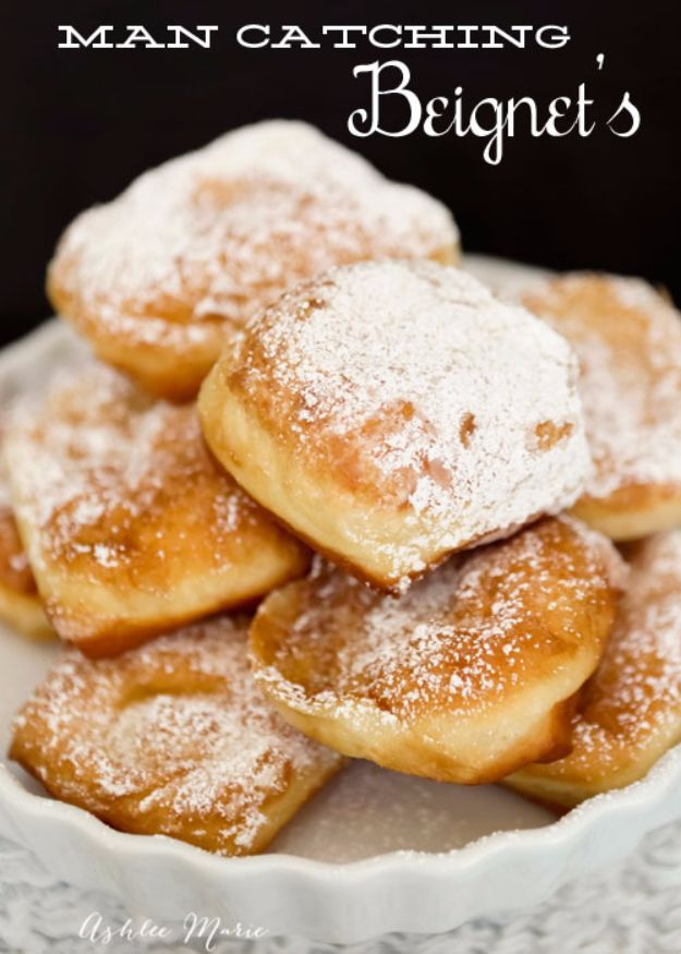 50 More Best Copycat Recipes From Top Restaurants - Man Catching New Orleans Beignets - Awesome Recipe Knockoffs and Recipe Ideas from Chipotle Restaurant, Starbucks, Olive Garden, Cinabbon, Cracker Barrel, Taco Bell, Cheesecake Factory, KFC, Mc Donalds, Red Lobster, Panda Express http://diyjoy.com/best-copycat-restaurant-recipes