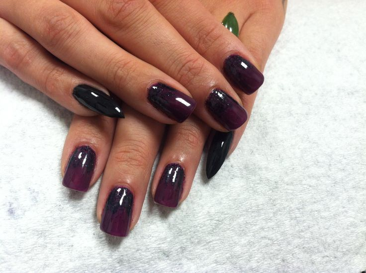 Shellac purple black nails. One stiletto nail: Stilettos Nails, Nails