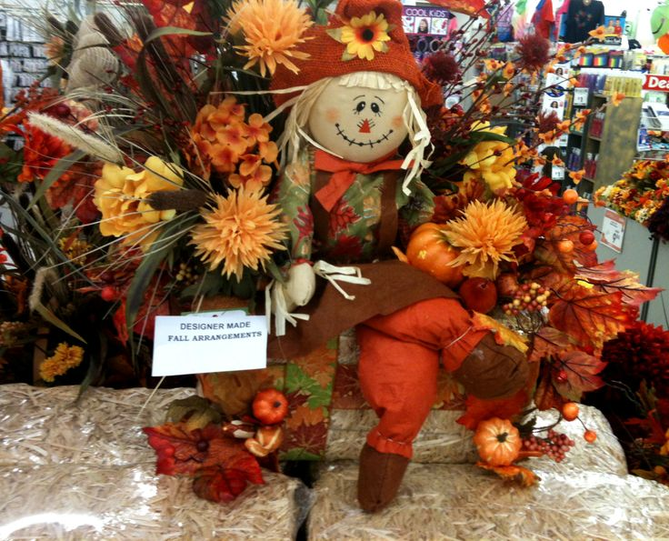 Fall scarecrow haybale designed in a c moore allentown for Michaels craft store erie pa