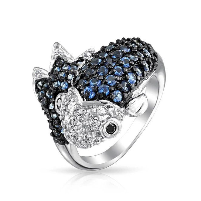Bling Jewelry Simulated Blue Sapphire Dolphin CZ Cocktail Ring Rhodium Plated wrNvGuIA