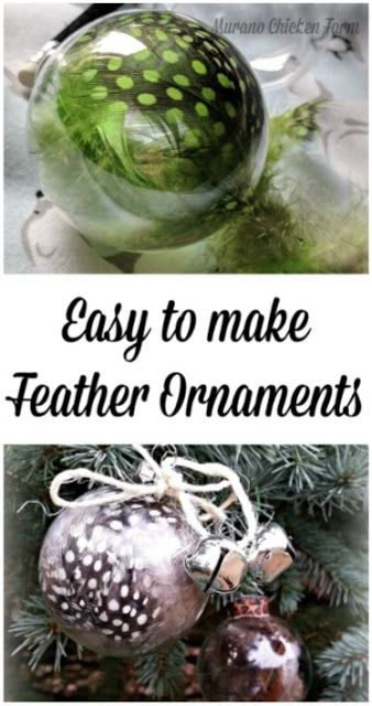 DIY feather ornaments using glass ornaments and dyed feathers. #DIYornaments #feather