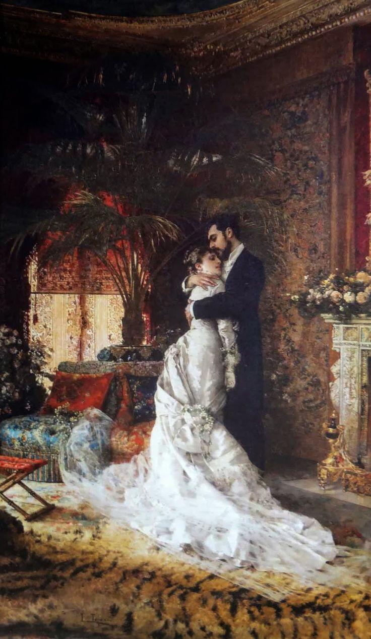 Auguste Toulmouche  (1829-1890) pintor francés cuyos temas fueron del renacimiento de la pintura de género, es decir, la generalización de las formas observadas en la naturaleza, subordinarlos a la unidad y al tema de la obra. Conocido principalmente por sus retratos de mujeres parisinas.