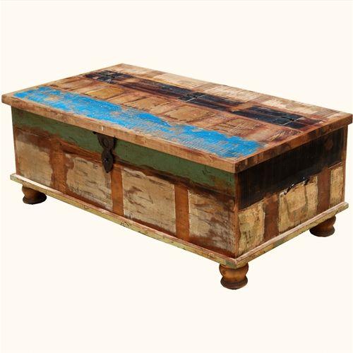 Oklahoma Farmhouse Old Wood Distressed Coffee Table Storage Box