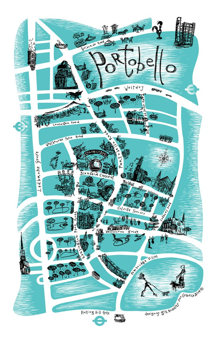Gill Bradley map of Portobello and Notting Hill area for Ceramica Blue shop, London