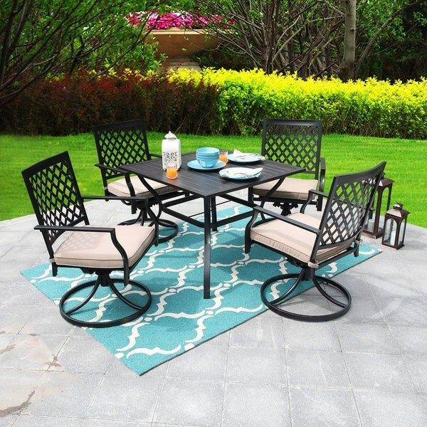 Shop Viewmont 5 Piece Outdoor Dining Set With Large Table And 4 Swivel Chairs By Havenside Home Overstock Outdoor Dining Set Patio Dining Set Havenside Home