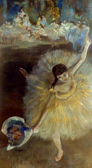 Degas  Bij bijna alle balletdanseresjes kiest Degas een hoog standpunt.