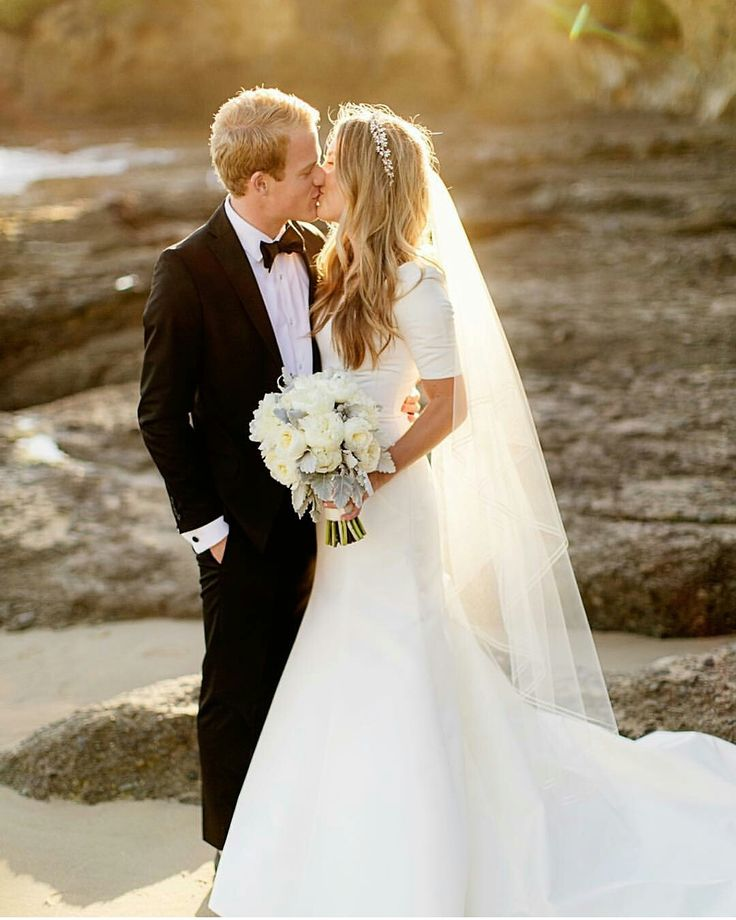 modest wedding dress with half sleeve and a flared skirt from alta moda. --(modest bridal gown)--