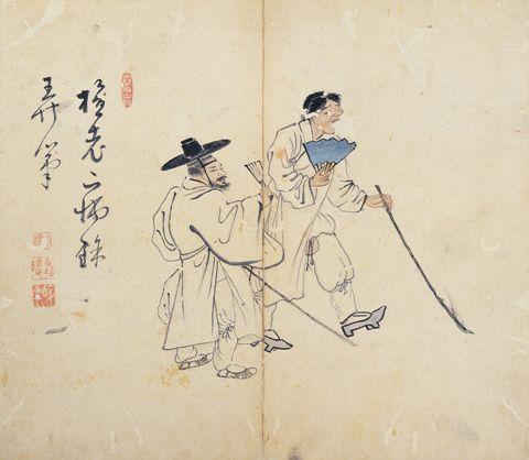(Korea) Genre Painting by Kim Hong-do. aka Damwon. ca 18th century CE. Joseon Kingdom, Korea. 지팡이를 든 두 맹인