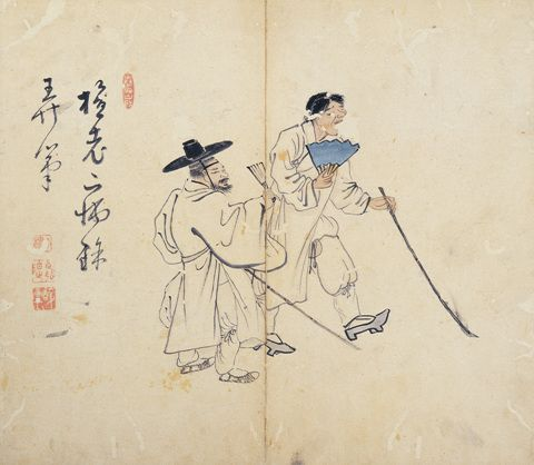 (Korea) 지팡이를 든 두맹인 by Kim Hong-do. aka Damwon. ca 18th century CE. Joseon Kingdom, Korea. 지팡이를 든 두 맹인