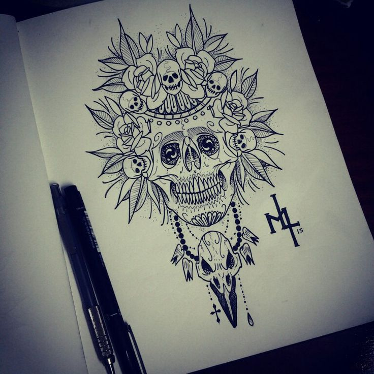 #estudo, #dharma_tattoo_art, #rabisco, #skull, #cranio, #rosa, #skulltattoo, #catrinaskull
