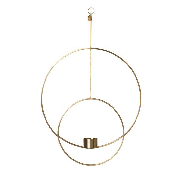 Oval+Hengende+Telysestake,+Messing,+Ferm+Living