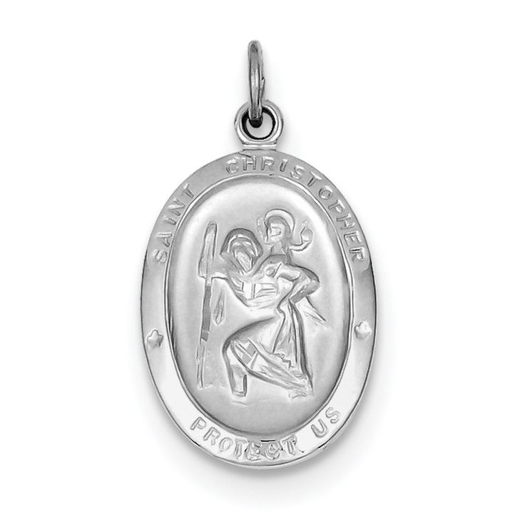 Sterling Silver Rhodium-plated St. Christopher Medal QC3553