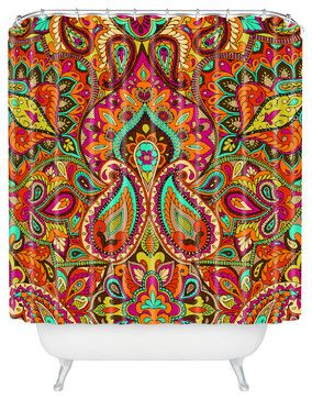 Aimee St Hill Paisley Orange Shower Curtain - eclectic - Shower Curtains - DENY Designs