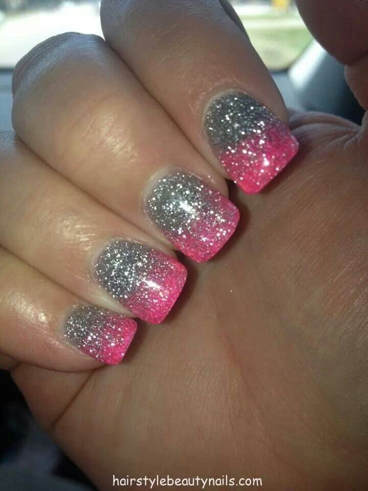 Silver n pink glitter nails