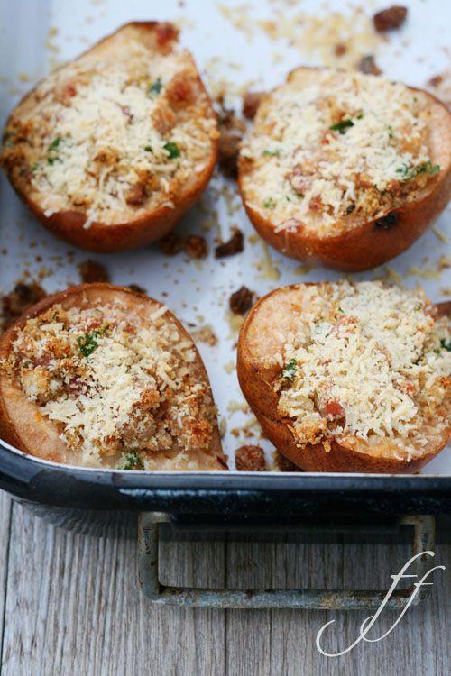 pere ripiene pancetta e parmigiano
