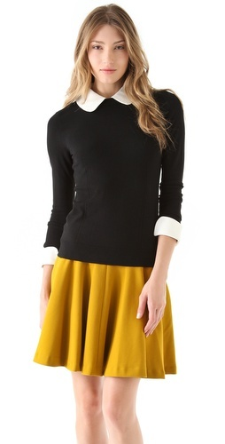 Milly Leather Trim Sweater: Full Skirts, Millie Sweaters, Cute Fall Outfits, Trim Sweaters, Cute Outfits, Leather Cuffs, Leather Trim, Millie Skirts, Millie Leather