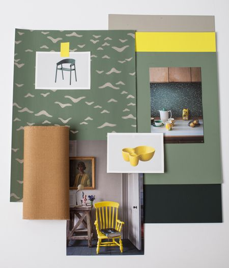 Interior atmosphere layout, with Farrow & Ball colours, Yukutori wallpaper, Muuto products by: Marieplrdesign