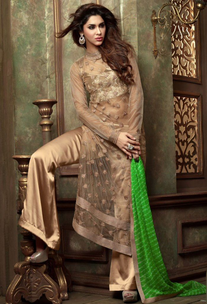 Beige Designer Georgette Palazzo Salwar Kameez With Embroidery Work...@ fashionsbyindia.com #designs #indian #fashion #womens #style #cloths #fashion #stylish #casual #fashionsbyindia #punjabi #suits