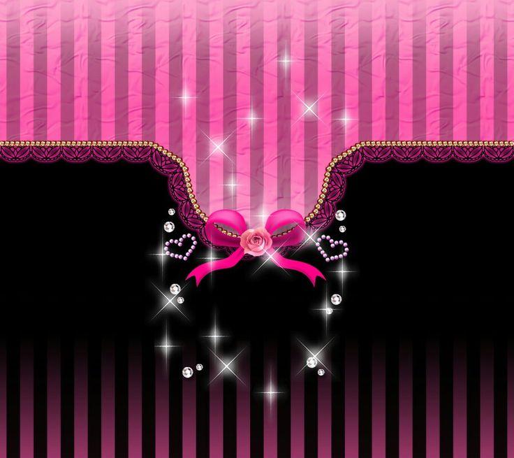 Wallpaper Black Pink: Pink And Black Striped Ribbon Wallpaper