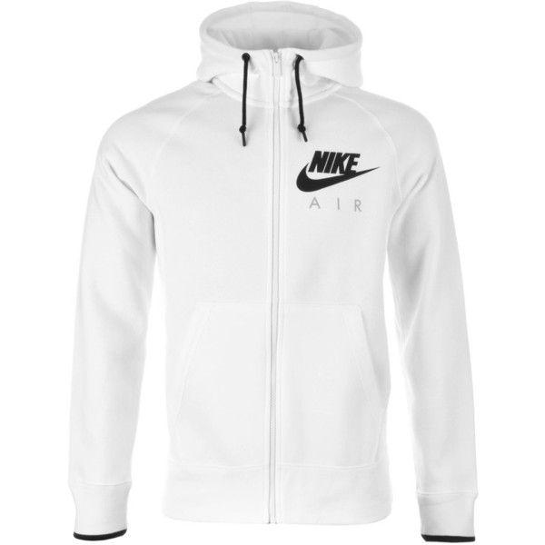 Nike Air Zip Up Hoodie White ($72) ❤ liked on Polyvore featuring tops, hoodies, nike hoodie, zip up hoodies, cotton hooded sweatshirt, cotton hoodie and full zip up hoodie